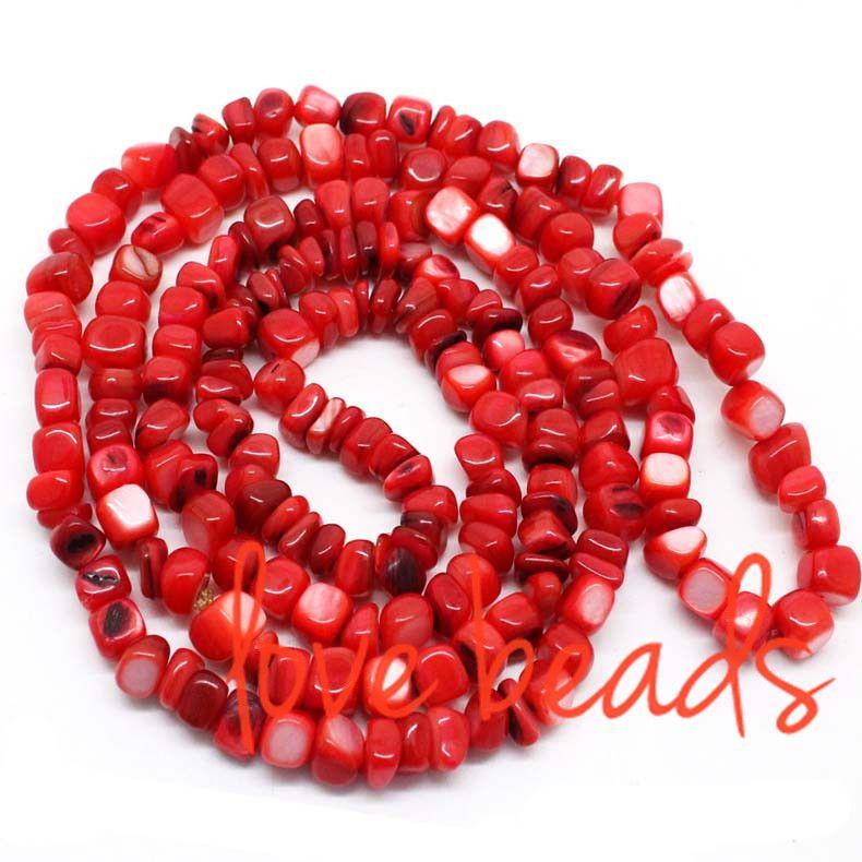 Vendita calda 5mm-8mm quadrato irregolare naturale rosso madreperla perle di ghiaia pietra branelli allentati filo 80 cm spedizione gratuita (F00310) all'ingrosso