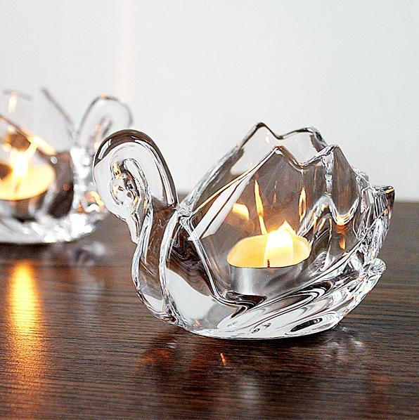 Samll Crystal Glass Candle Holders Home Decor For Weddings Decoration Crystals Swan Votive Candle Holders With