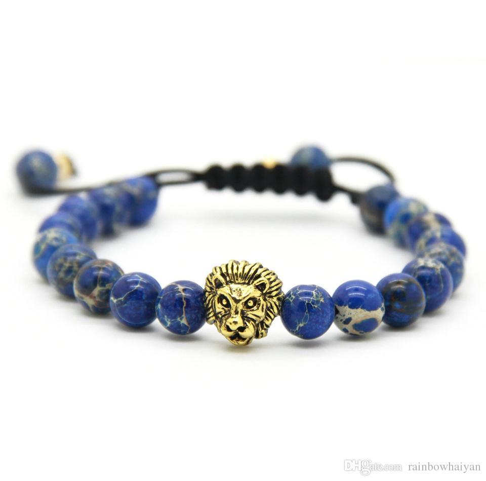 Hot Sale 1PCS Retail Men's Bracelets 8mm Stone Beads Gold Silver Plated Lion Head Braiding Bracelets