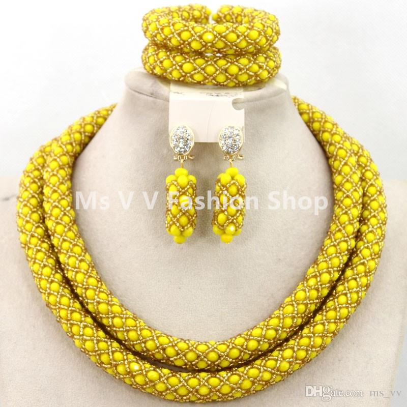 2018 new design nigerian wedding african beads jewelry set crystal ...