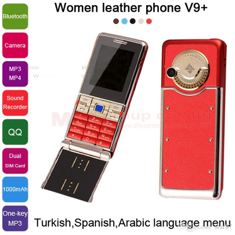 New Unlocked Fashion luxury mobile phone for woman girl best gift Dual sim card leather metal frame stainless steel cell phone cellphone