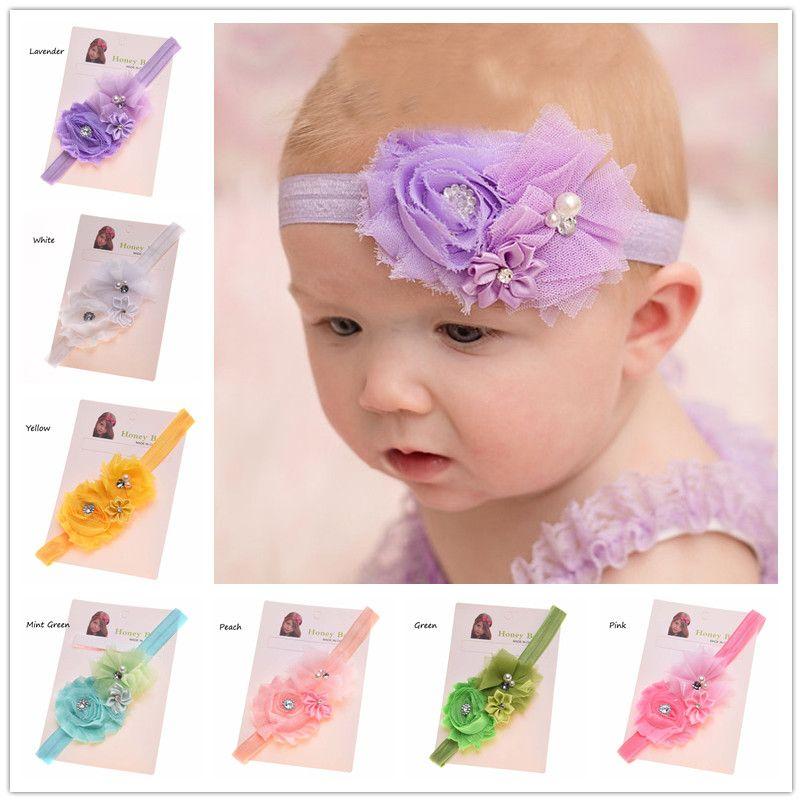 Wholesale 30pcs Newborn Baby Hair Bow Headband Satin flower hairband Cheap Hair Bows for baby girl First Birthday Gift