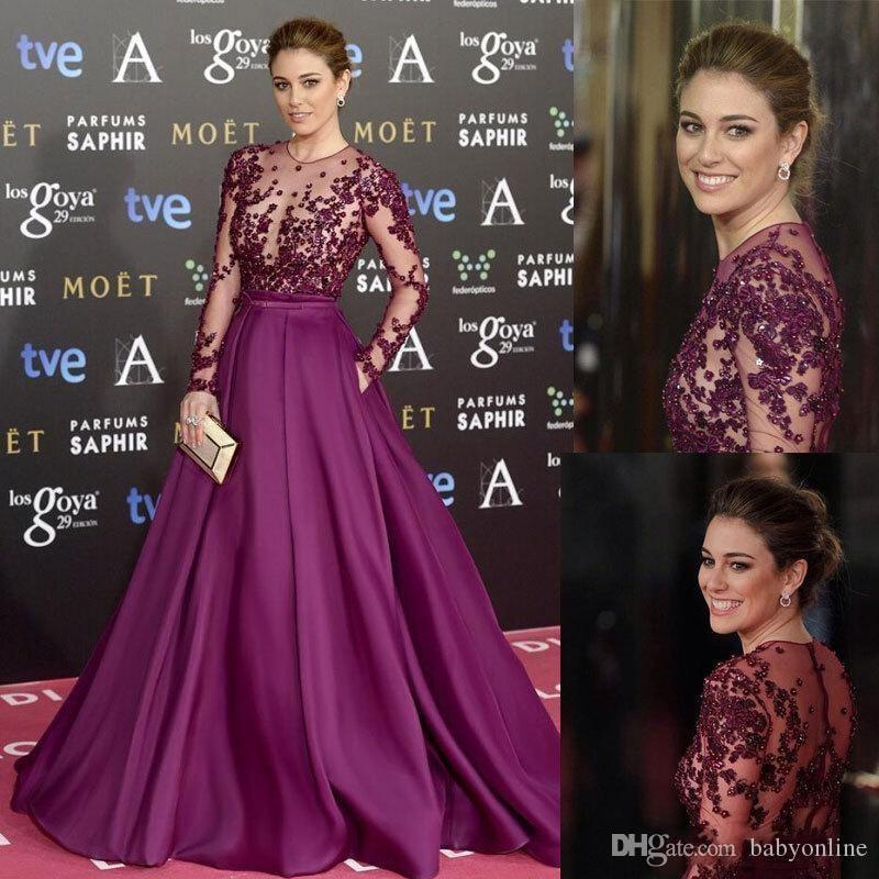 2019 Zuhair Murad Red Carpet Вечерние платья с длинными рукавами и бисером Аппликация Sheer Illusion Лиф Вечерние платья для выпускного Вечерние платья