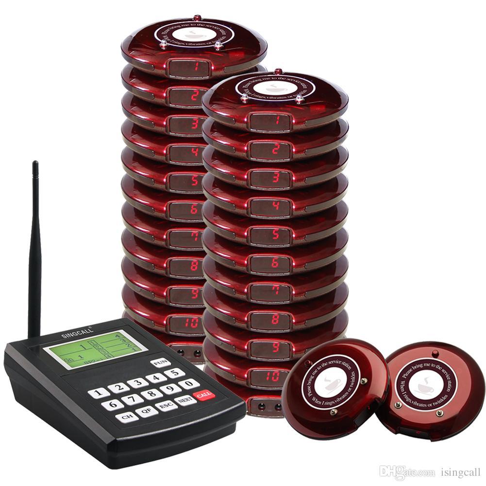 SINGCALL-Achterbahn-Paging-System, Kunden können Lebensmittel mitnehmen, drahtloses Paging-Warteschlangensystem für Gäste, einschließlich eines Senders und 20 Pager