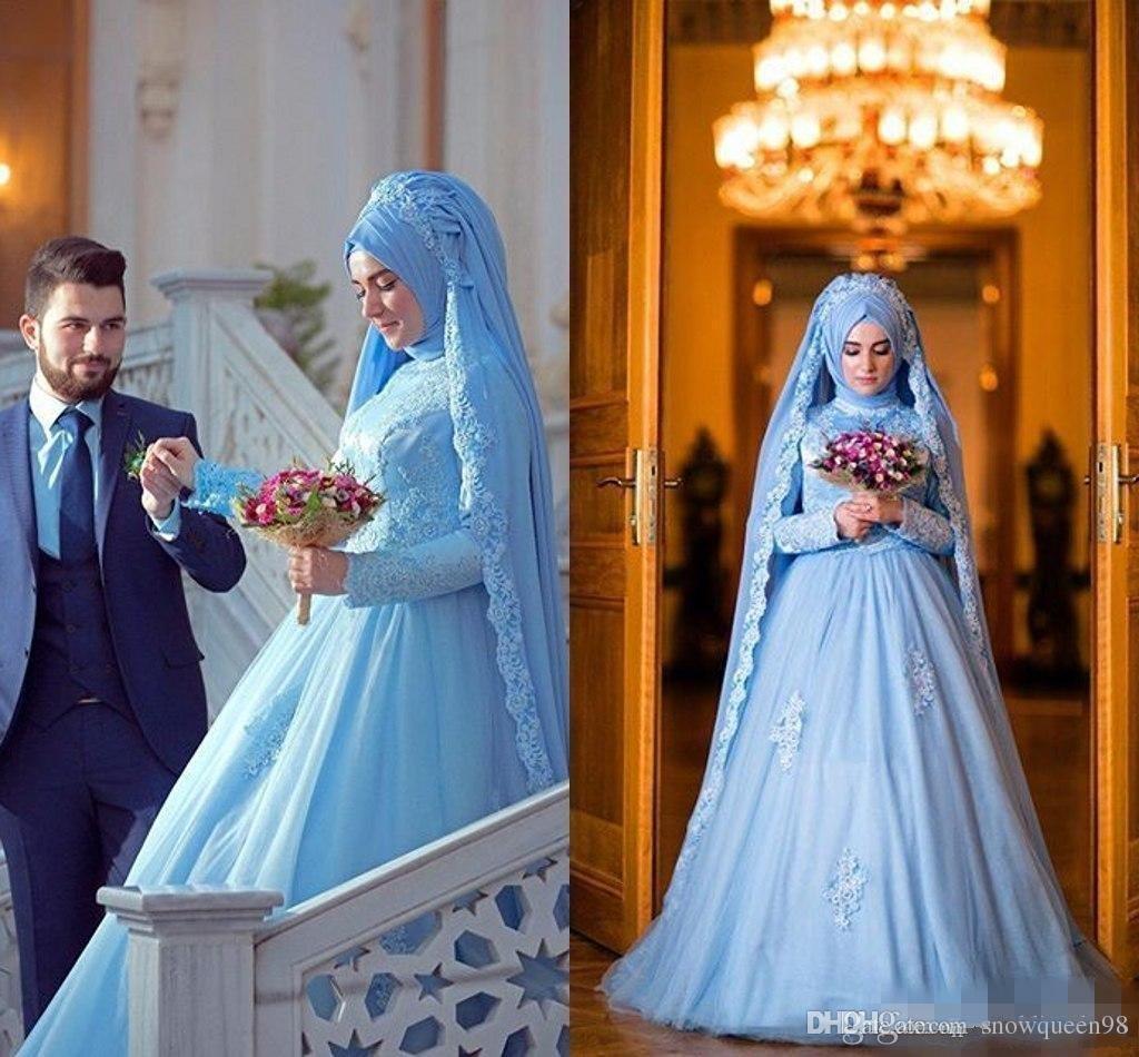 Discount Elegant Long Sleeve Muslim Dress For Wedding With Hijab Gelinlik Blue Lace Women Vestidos De Novia Plus Size Arabic Formal Dresses Bridal ...