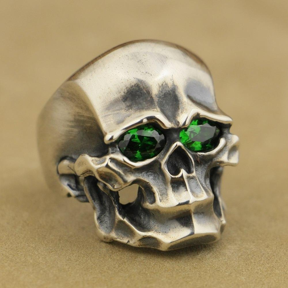 LINSION тяжелый стерлингового серебра 925 зеленый CZ череп мужской байкер панк кольцо TA45 США размер 7 до 15