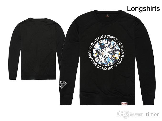 Casey paisley hommes hip hop t shirt Diamond Supply co shirts manches longues tee-shirts t-shirt de haute qualité coton mince pulls molletonnés