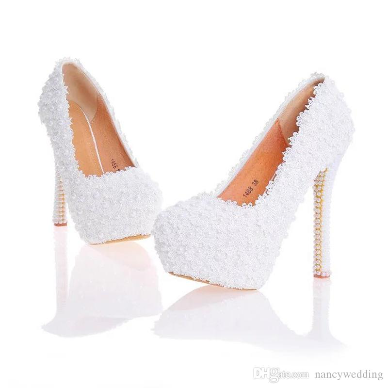 Lace Flower Wedding Shoes Beautiful Handmade Women High Heels Girl