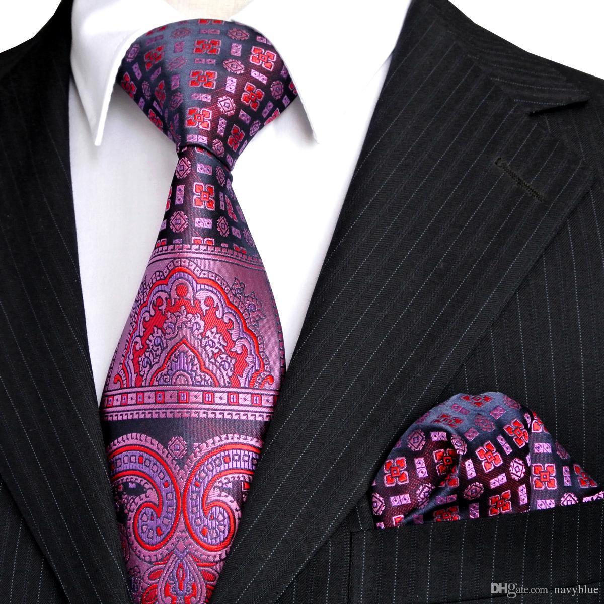 E4 التعادل مجموعات الوردي الأزرق الداكن الأرجواني نمط الأزهار رجل منديل ربطة العنق الحرير 100 ٪ الحرير شحن مجاني جديد