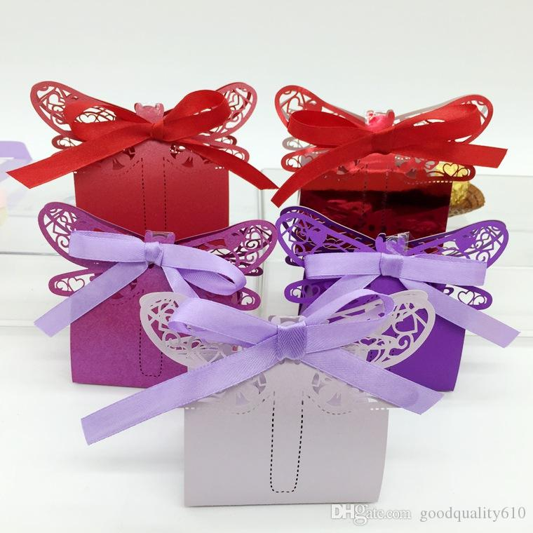 100pcs Laser Cut Hollow Dragonfly Candy Box Chocolates Boxes With Ribbon For Wedding Party Baby Shower Favor Gift