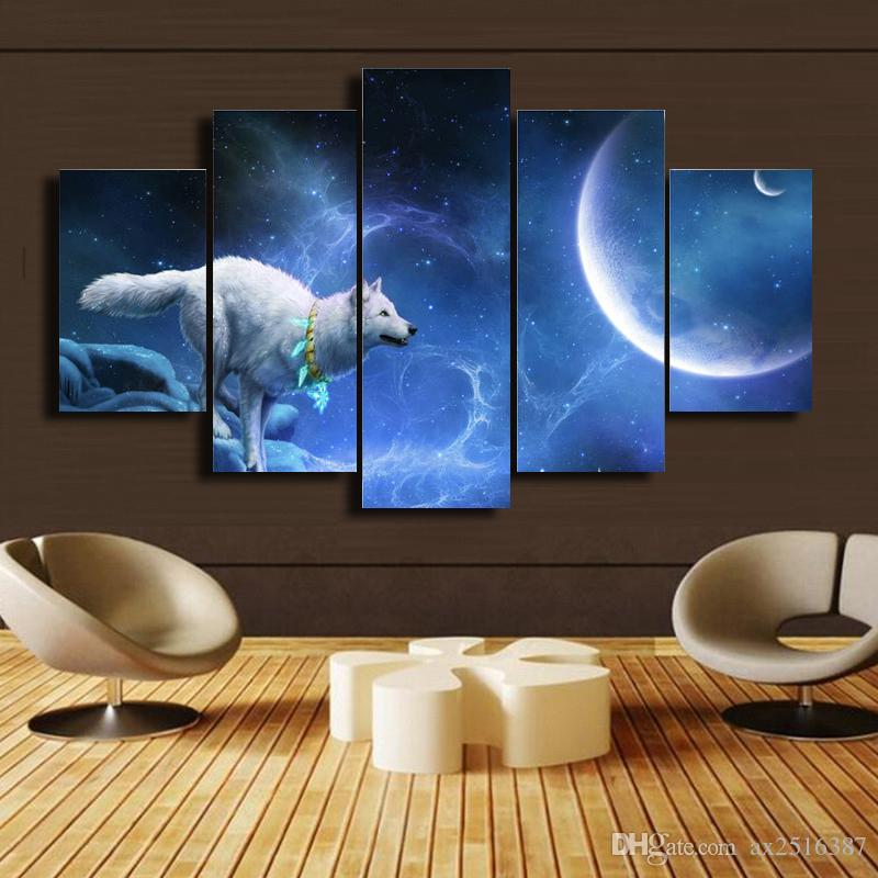 5 Pcs/Set The wolf Canvas Oil Wall Art HD Painting Home Decorative Cheap Art Picture Paint on Canvas Prints DH018
