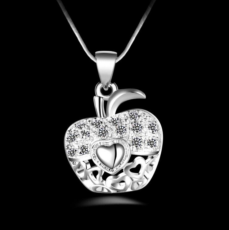Fashion High quality 925 Silver Apple Pendant Necklace With White Crystal Pendant jewelry 925 silver necklace Valentine's Day holiday gifts