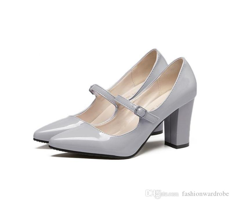 mary jane pointed toe ladies wedding shoes chunky heel patent leather strappy high heels run way