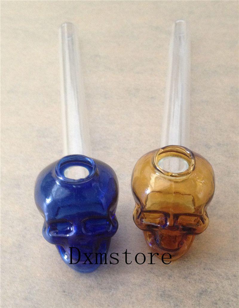 Nueva Cráneo Recto Tubo de fumar Tubos de vidrio de colores 14 cm Longitud Mango Tubos Curvados Mini Hermoso Tubo de fumar Accesorios de fumar baratos