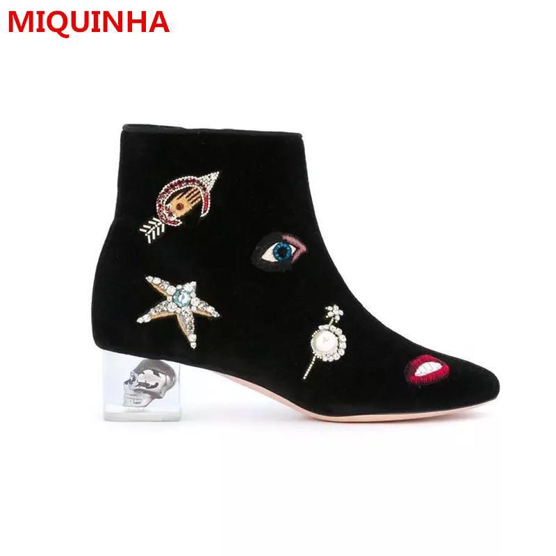 2017Autumn Winter Shoes Donna Stivaletti Chic Ricama Punta Rotonda Zip con tacco in cristallo Stivali da donna Stivaletti taglia forti