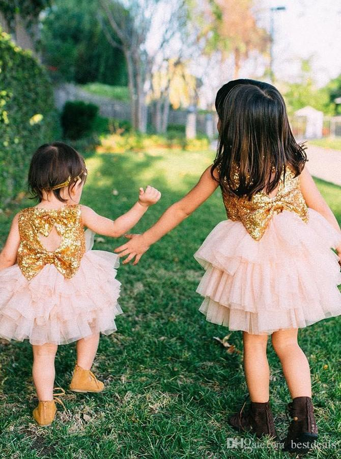 Ball Gown Jewel Open Back Pearl Pink Tulle Flower Girl Dress with Sequins Bows Communion Dress Pageant Gowns for Little Girls