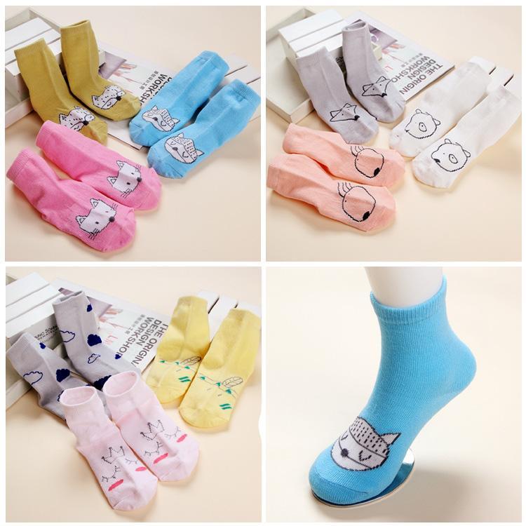 Calzini per bambini stile primavera autunno Calzini per bambini in cotone cartone animato Cute Cat Fox modello calzino per bambini 20 paia / colore