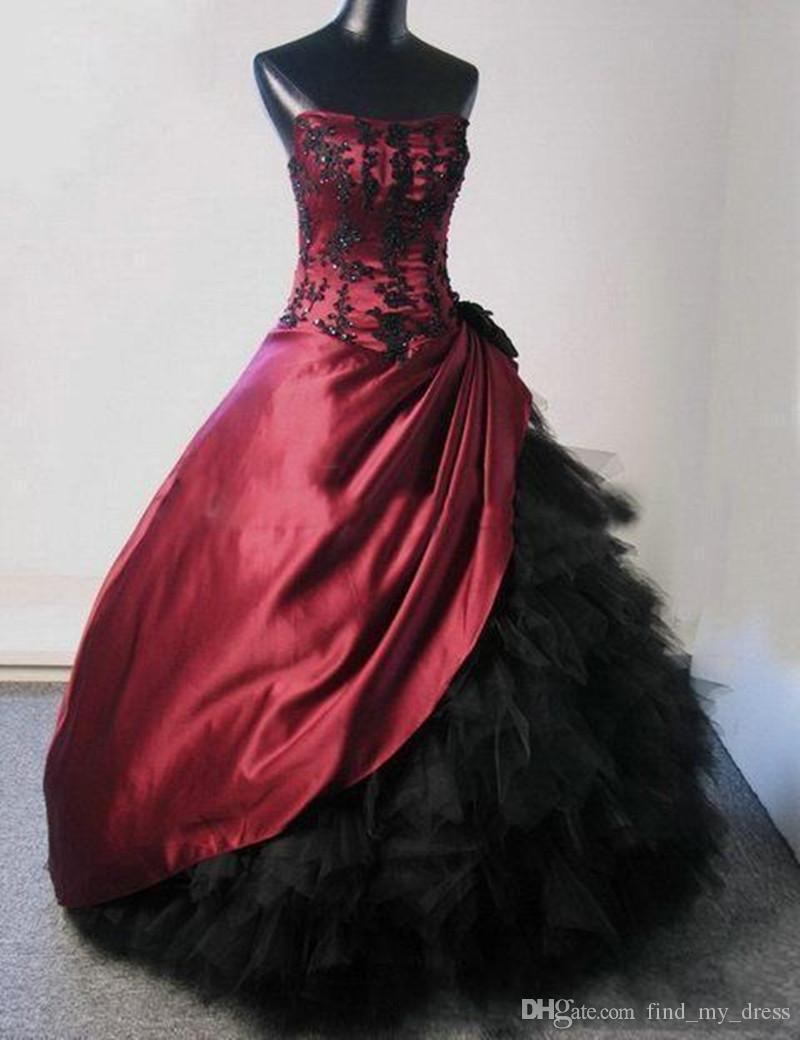 Gothic Style Burgundy And Black Wedding Dresses Ball Gown Strapless Beaded Lace Satin Ruffles Tulle Vintage