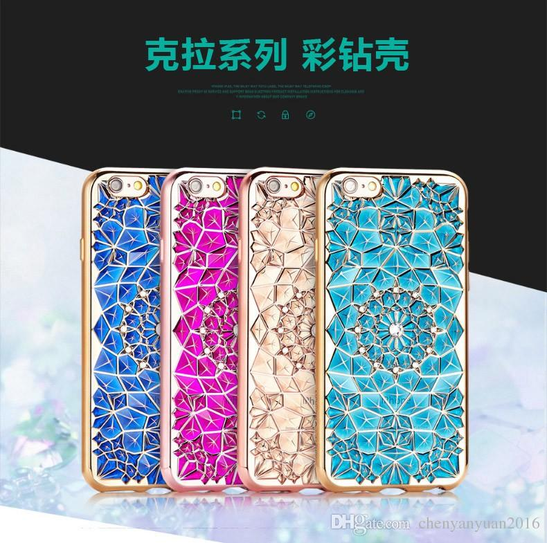 3D Diamond Bling plating Case for iPhone 7 Sun Flower Soft TPU Back Cover Sheath for iPhone SE for iPhone 6 7 plus