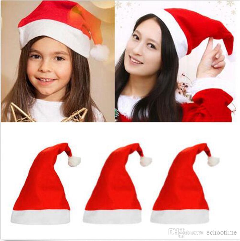 Echootime 2000pcs Claus chapéu vermelho de Santa ultra macio Plush Natal Cosplay chapéus Decoração de Natal Adultos Festa de Natal chapéus Suprimentos
