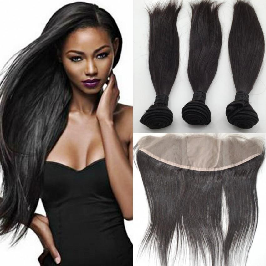 Brazilian Straight Virgin Human Hair With Silk Base Frontal 4pcs/lot Ear To Ear full Lace Frontal Free Part with bundles