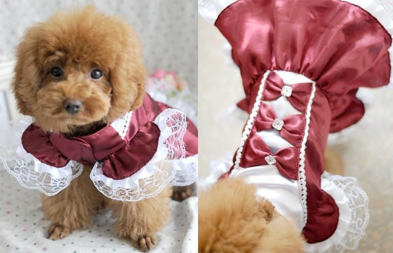 Bowknot Summer Dog Dress Red/Blue Cat Wedding Dresses Party Maid outfit Pet Skirt Puppy Clothes For Small Dog