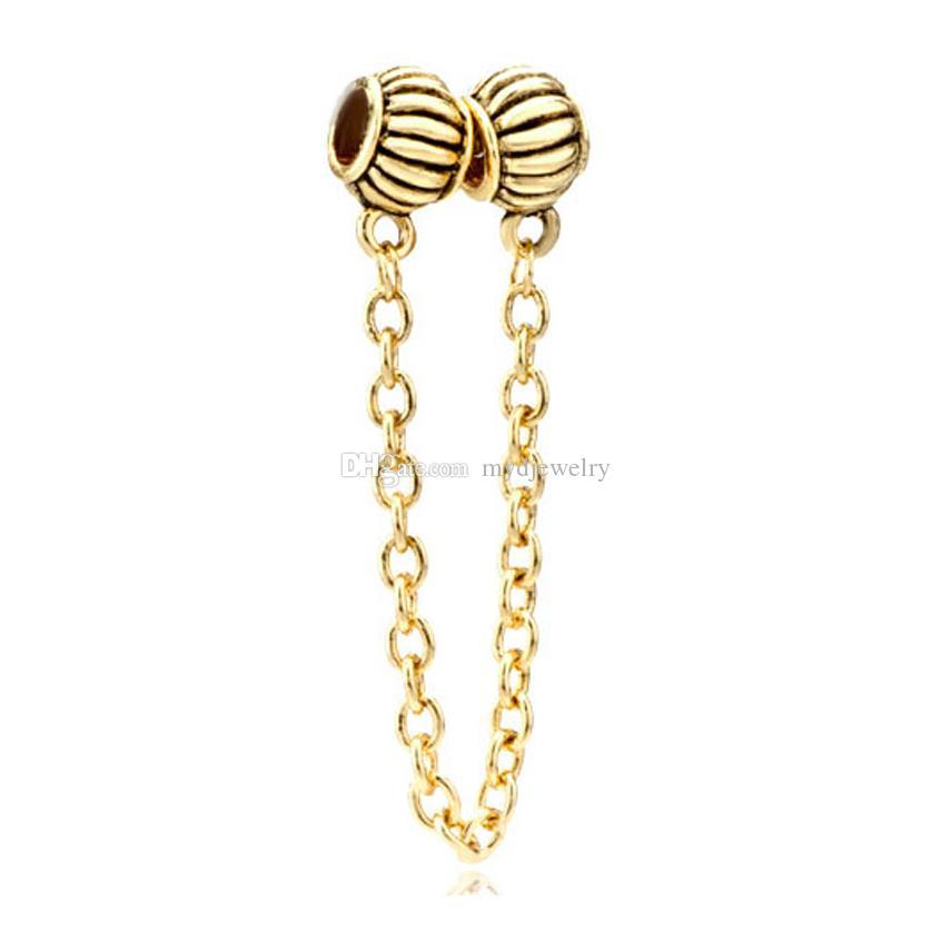السيدات مجوهرات مطلية بالذهب الأوروبي الخرز سلامة سلسلة ربط سوار معدني يناسب باندورا جميع العلامات التجارية