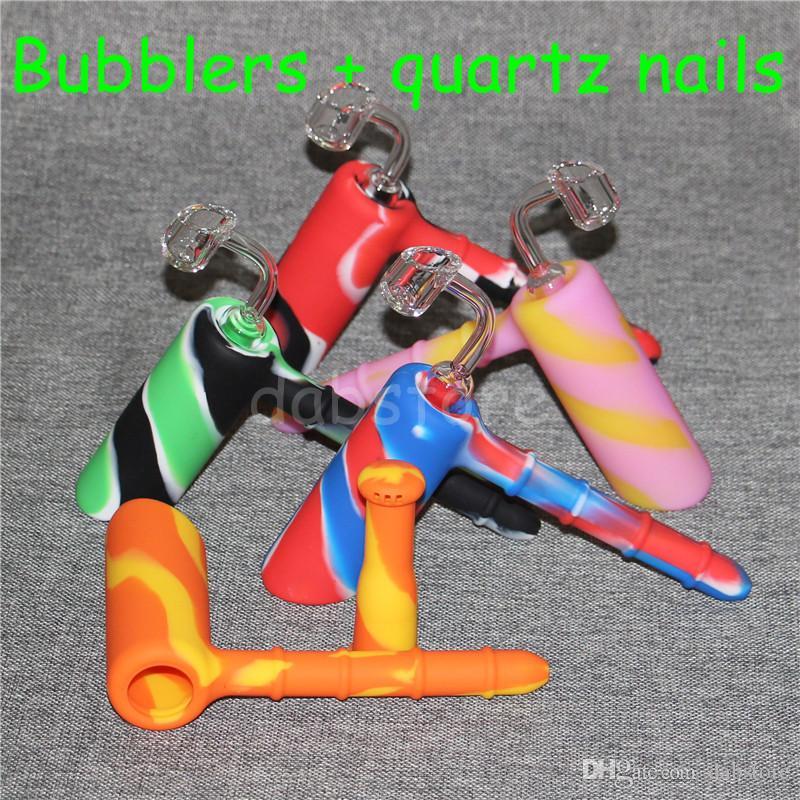 Hammer Bubbler Bohrinseln Mode-Design Rauchpfeifen Glas Blunt Wax Dab Rig + 4mm 18,8 männlich Quarz Nagel Silikon Nektar Collector DHL