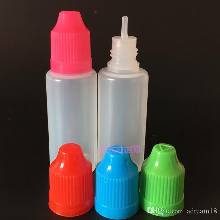 Livraison gratuite 20ml PE eliquid bouteille en plastique Dropper bouteilles vides avec Caps épreuve des enfants longue aiguille mince Conseils bouteille translucide sur la vente
