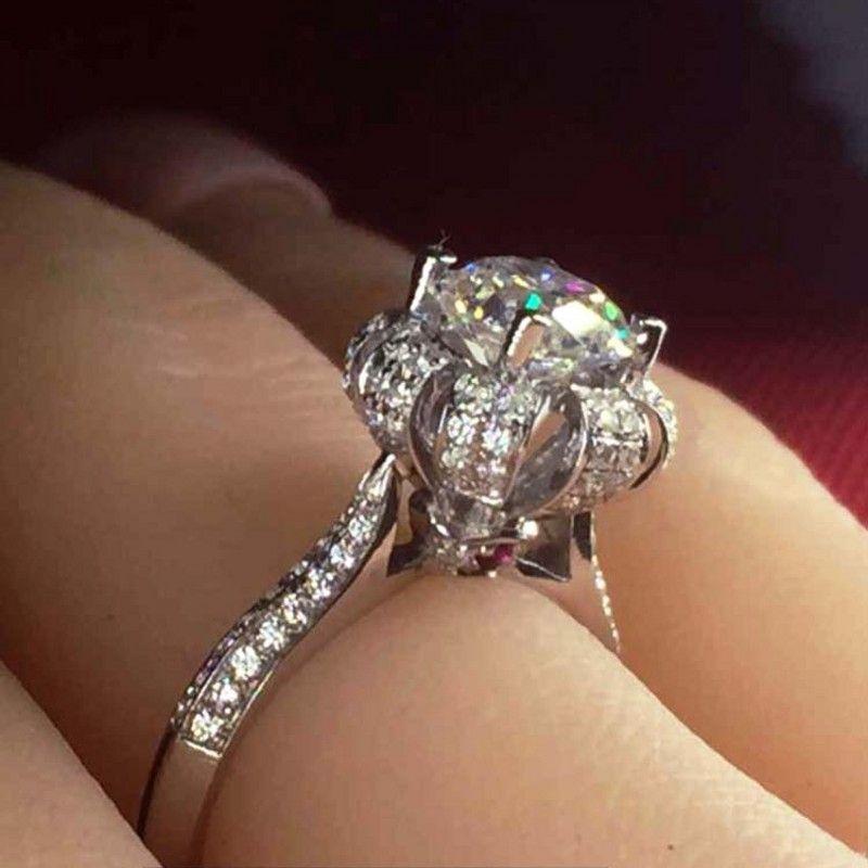 Vecalon valioso mulheres coroa anel de jóias rubi simulado diamante cz 925 anel de noivado de prata esterlina banda de casamento para as mulheres