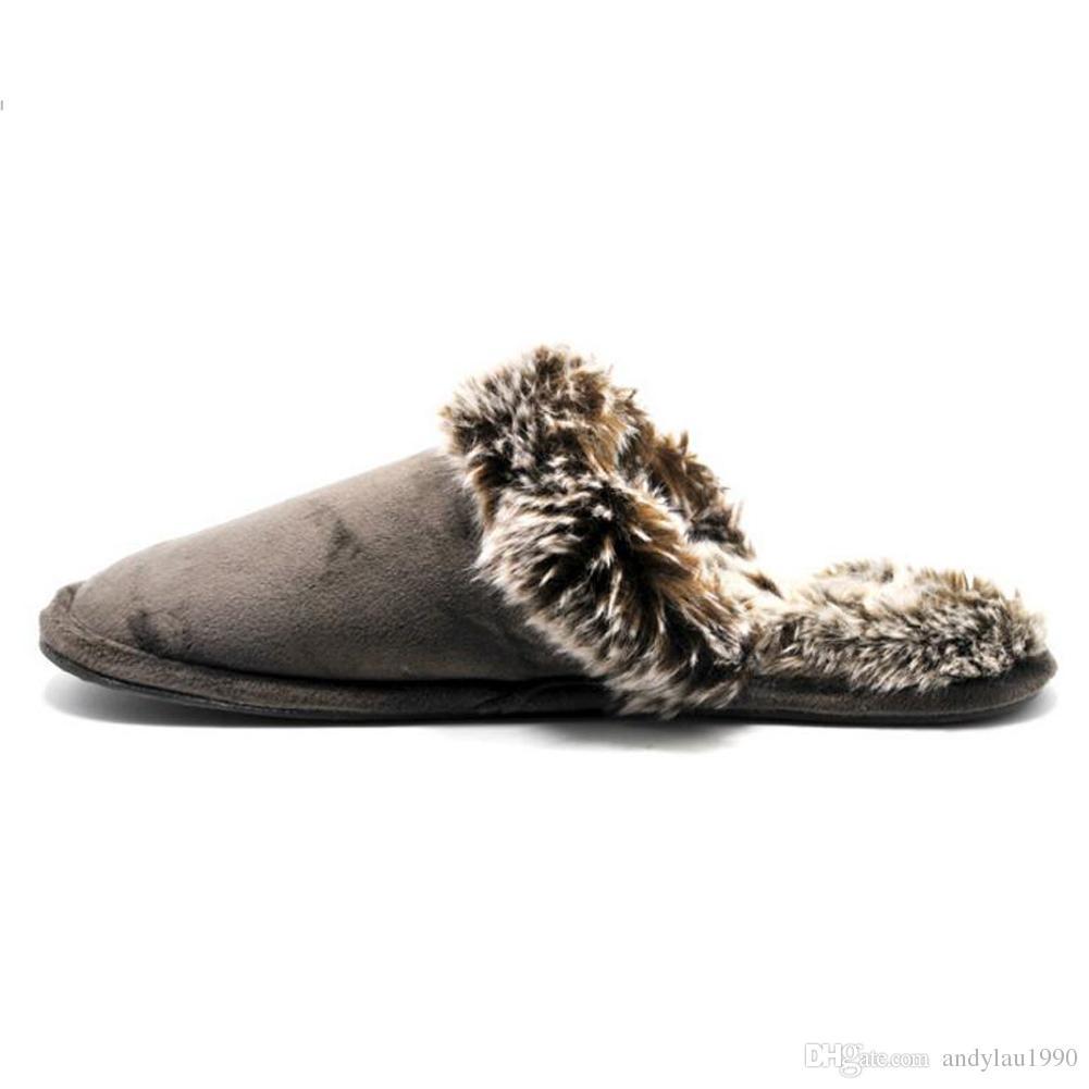 38-46 Winter-Männer Warm Skid Pantoffel Indoor Innenplüschfell Lovers Baumwolle Boden Hausschuhe Hausschuhe Männer