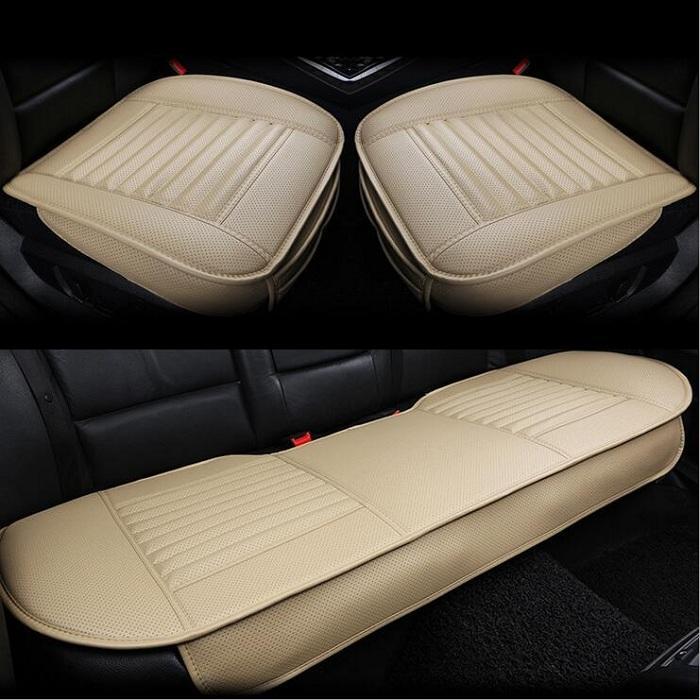 Araba ön / arka Koltuk Bambu kömür yapay PU deri Evrensel Fit SUV sedan Kapakları