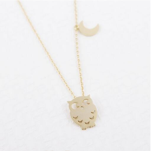 The new pendant necklace the owl and the combination of moon plated necklace with free shipping wholesale women