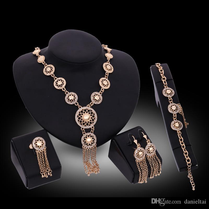 Earrings Necklaces Rings Bracelets Sets Fashion Women Rhinestone 18K Gold Plated Tassel Chains Alloy Flowers 4-Piece Jewelry Sets JS134
