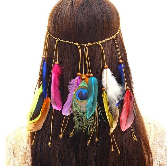 Bohem Stili Tavuskuşu Tüyü Saç Bandı Moda Ulusal Stil Hint Headdress
