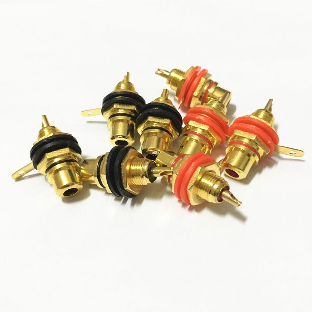 100PCS/Lot Freeshipping Gold Plated RCA Terminal Jack Female Socket Chassis Panel Connector for Amplifier Speaker