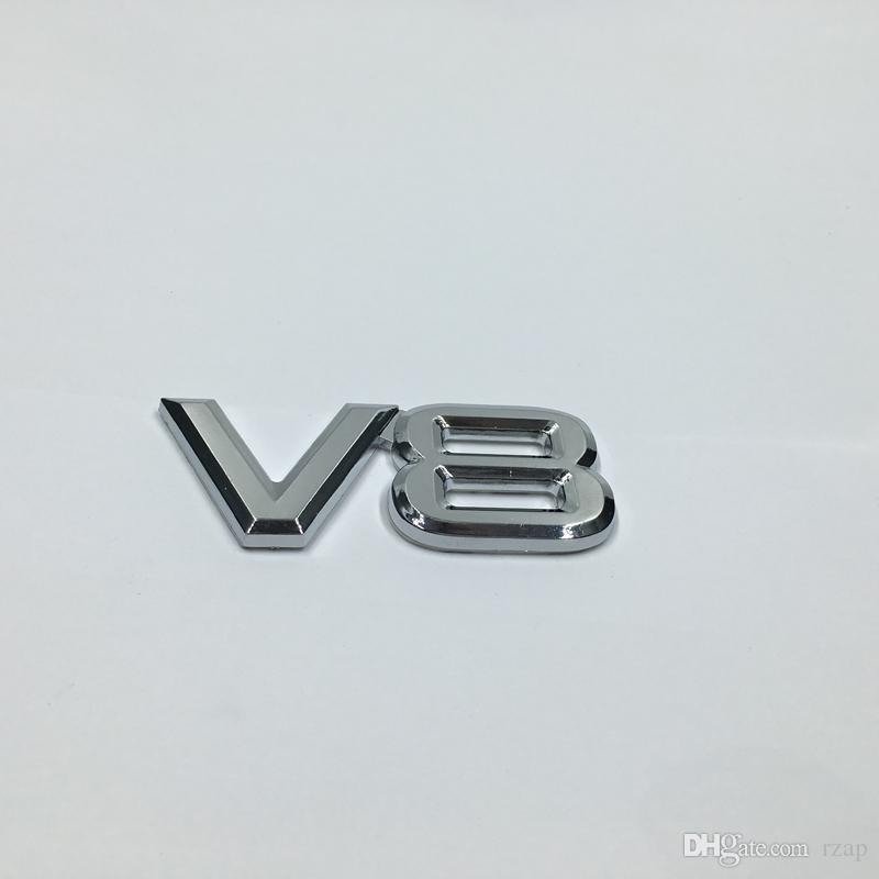 10pcs Universal Haute Qualité Nouveau logo autocollant emblème 3D V8 Decal Car Styling Argent Pour Ford Chevy