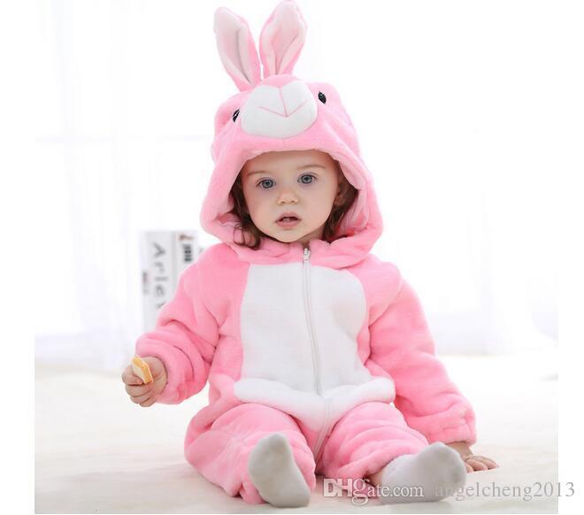 Heißes neues Baby-Spielanzug-Mädchen kleidet Baumwollflanell-gesteppten Overall-Karikatur-nettes Kaninchen-Tierspielanzug-Baby-Kleidung (Rosa) JY0526