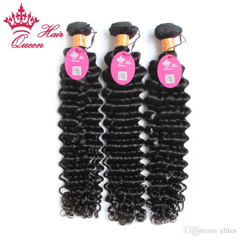 """Produkty do włosów Królowej 3 sztuk / partia 100g / PC 100% Indian Virgin Hair Extension Włosy głębokich fali 12 """"-28"""" można farbować i wybielać"""