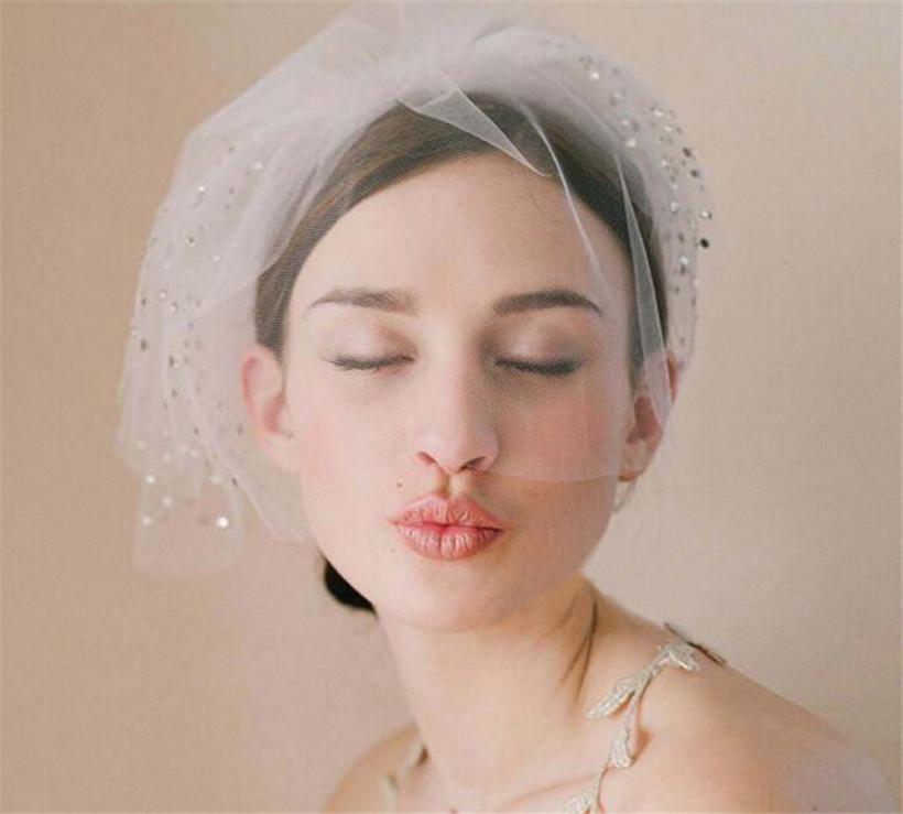 Vintage Hochzeit Braut Weißer Birdcage Schleier Gesicht Net Kristall Strass Faszinator Kopfschmuck Haarschmuck Kopfband Kopfschmuck Gesicht Schleier