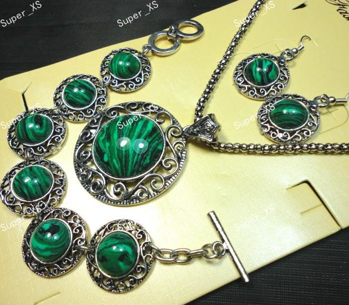 1sets Top Circle Malachite Stone Bracelet Earrings Necklace 3 in 1 Jewelry Lots wholesale Jewelry Sets LR541