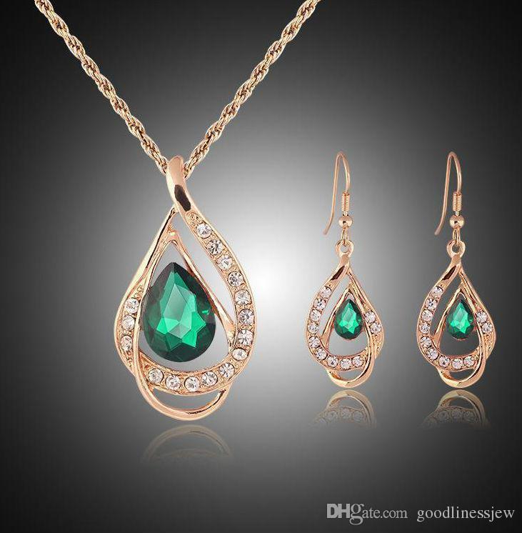 Juego de joyas Pendiente de oro sólido Collar Colgantes Swarovski Joyería de cristal australianos Joyería India Joyería Establecer Fiesta Juego de joyería