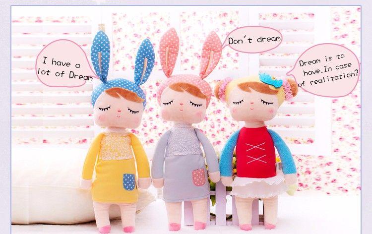 Peluche Mignon Brinquedos Bébé Enfants Jouets pour Filles D'anniversaire Cadeau De Noël Bonecas 13 Pouce Angela Lapin Fille Metoo Poupée