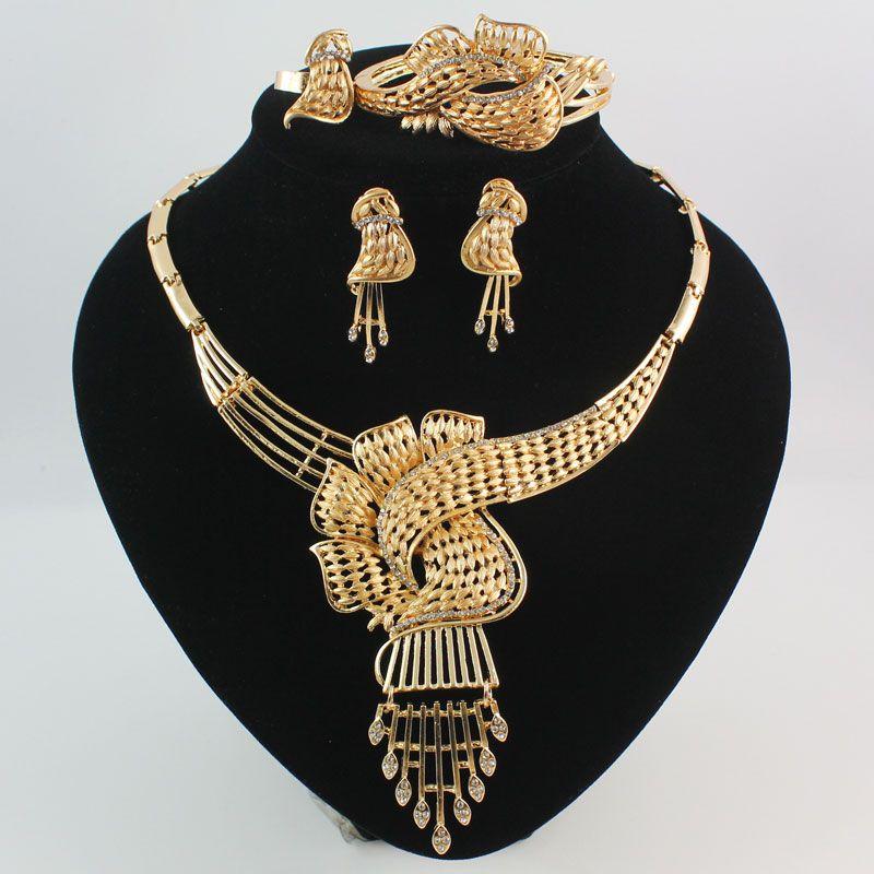 مجوهرات الأفريقية 18 كيلو الذهب / الفضة مطلي حجر الراين بيان قلادة سوار حلقة القرط أزياء المرأة مجموعات المجوهرات عالية الجودة