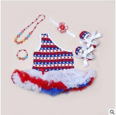 Menina Vestidos de Bandeira Americana Do Bebê Crianças Menina Bodysuits Sem Mangas TUTU vestidos Saias Crianças roupas KF 003