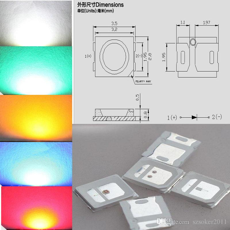 1000PCS 0.1W SMD 2835 화이트 레드 블루 그린 옐로우 LED 램프 LED SMD LED SMD 2835 SMD SMD LED 무료 배송