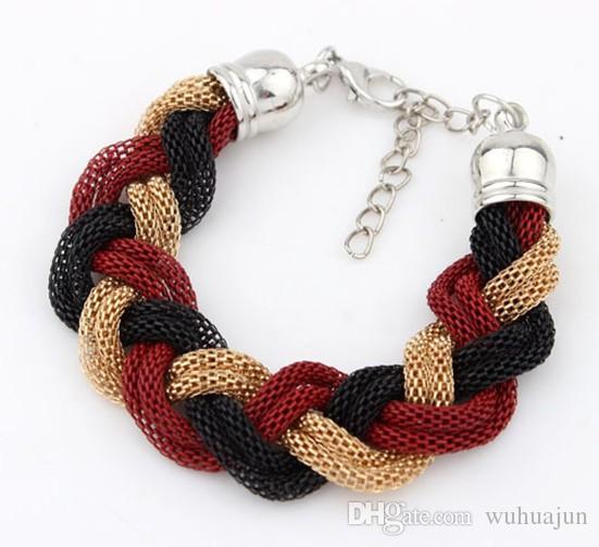Good Quality Personal Style Chains Bracelets 6 Rows Mix Color Bracelet Women Mesh Chain Cross Bracelets 10PCS Female Cheap Bracelet