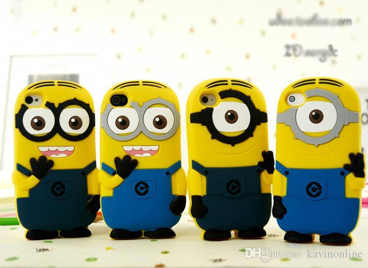3D Silicone Cute Minions Despicable Me2 Case Soft Cartoon Back Cover for iphone 5 5S 5c 4 4S 6 Plus DHL