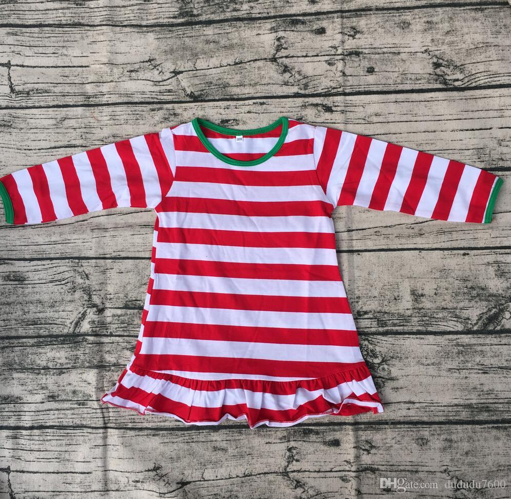 Christmas Long Sleeve Green Cuff Dress Children Red Stripe Ruffle Bottom Clothing High Quality Baby Girls Cotton Frocks Designs Dress