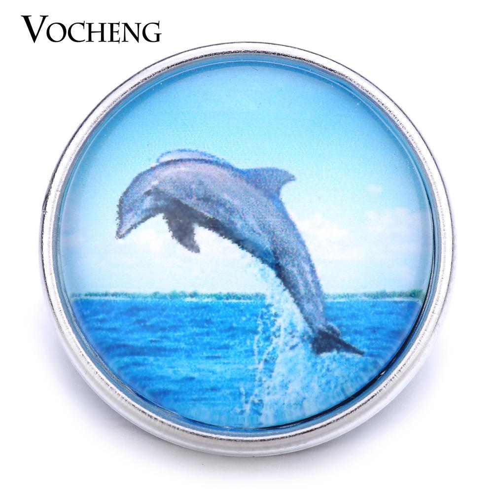 VOCHENG NOOSA Gros Interchangeable 18mm Dauphin En Verre De Verre Charme Bijoux Vn-1250